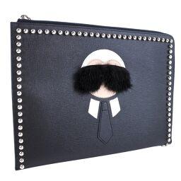 FENDI FENDI Flat Clutch Second Bag Studs 8M0370 7MP F0V3X Leather Ladies Clutch Bag [Used] A + Rank