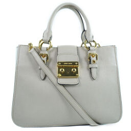 MIUMIU 2WAY bag shoulder RN0799 calf ivory ladies handbag [used]