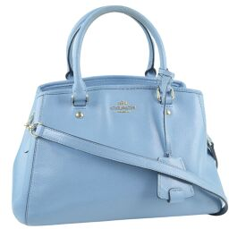 COACH Coach Mini Margot 2WAY Shoulder Bag F34835 Calf Light Blue Ladies Handbag [Used]