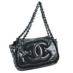 CHANEL Fabric Flap Luxury A49697 Nylon x Mohair Black Ladies Shoulder Bag [Used] A Rank
