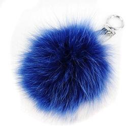 FENDI FENDI bag charm pompon 7AR259 blue ladies charm [used] A + rank