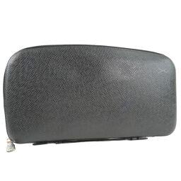 LOUIS VUITTON Organizer Atoll M30652 Taiga Aldwards Black MI0073 Engraved Men's Wallet [Used]