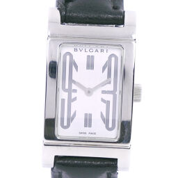 BVLGARI Bulgari Rettangoro RT39S Stainless Steel × Leather Quartz Ladies White Dial Watch [pre-owned]