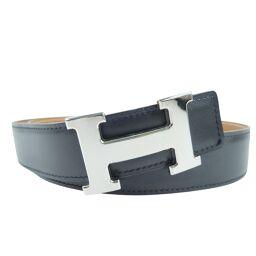 HERMES Hermes H belt box calf black □ F engraved men's belt [used] A rank