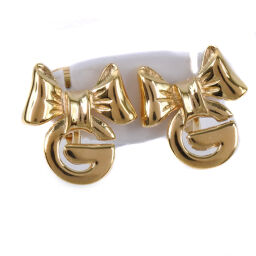 Givenchy Givenchy Ribbon GP Gold Women's Earrings [Used] A Rank