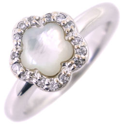 Ponte Vecchio Mother of Pearl K18 White Gold x Diamond No. 8 White 0.12 Engraved Ladies Ring / Ring [Used] SA Rank