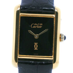 CARTIER Cartier mast tank silver x leather gold hand-wound analog display ladies black dial watch [used] A-rank
