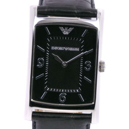 ARMANI Emporio Armani AR-0147 Stainless Steel x Leather Quartz Analog Display Men's Black Dial Watch [Used]