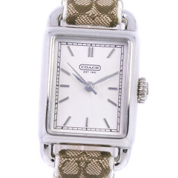 COACH Coach Signature CA.46.7.14.0459 Stainless Steel x Leather White Quartz Analog Display Ladies Silver Dial Watch [Used] A Rank