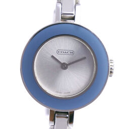 COACH Coach Change Bezel 0252 Stainless Steel x Leather Quartz Analog Display Ladies Silver Dial Watch [Used] A-Rank