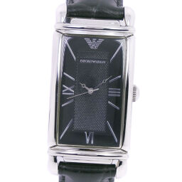 ARMANI Emporio Armani * There is a separate hole AR-0265 Stainless steel x leather quartz analog display Men's black dial watch [used] A-rank