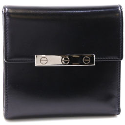 CARTIER Cartier happy birthday love calf black unisex bi-fold wallet [pre-owned] A-rank