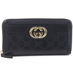 GUCCI Gucci Round Zipper 308012 Shima Leather Black Men's Long Wallet [Used]