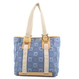 Salvatore Ferragamo Salvatore Ferragamo Gancini Denim Blue Ladies Tote Bag [Used]