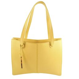 CHANEL Calf Yellow Ladies Tote Bag [Used] A + Rank