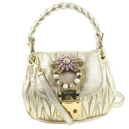 MIUMIU Miu Miu 2WAY Shoulder Calf x Rhinestone Gold Ladies Handbag [Used] A rank