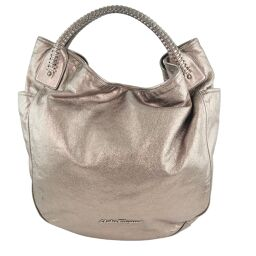 Salvatore Ferragamo Leather Gunmetal Women's Handbag [Used]