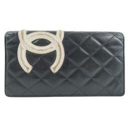 CHANEL Cambon Lambskin Black Ladies Long Wallet [Used]