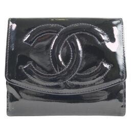 CHANEL W Hook Patent Leather Black Ladies Bi-Fold Wallet [Used]
