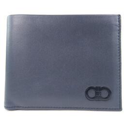 Salvatore Ferragamo Wallet Gancio Calf Black Men's Bi-Fold Wallet [Used] A Rank