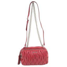 MIUMIU Miu Miu Chain Shoulder MATELASSE 5BH029 Calf FUOCO Red Ladies Shoulder Bag [Used]