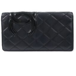 CHANEL Chanel Cambon Line Calf Black Ladies Long Wallet [Used]
