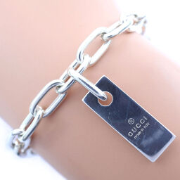 GUCCI Gucci Tag Plate Silver 925 Unisex Bracelet [Used] A-Rank