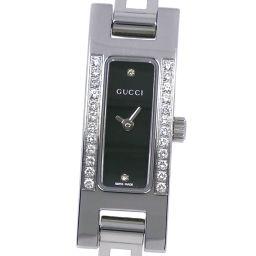 GUCCI グッチ ダイヤベゼル 3900L ステンレススチール×ダイヤモンド クオーツ レディース 黒文字盤 腕時計【中古】A-ランク