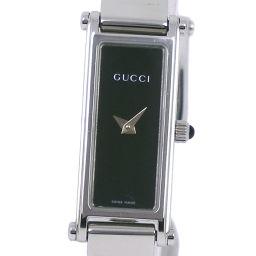 GUCCI グッチ 1500L ステンレススチール シルバー クオーツ レディース 黒文字盤 腕時計【中古】