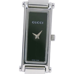 GUCCI グッチ 1500L ステンレススチール シルバー クオーツ レディース 黒文字盤 腕時計【中古】A-ランク