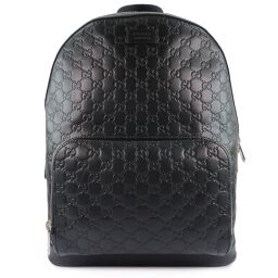 GUCCI Gucci GG Shima 406370 Calf Black Unisex Backpack Daypack [Used] S Rank