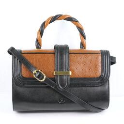 GHERARDINI 2WAY Shoulder Calf Black / Brown Ladies Handbag [Used] A-Rank