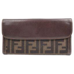 FENDI FENDI Zucca Canvas x Calf Brown Women's Wallet [Used]