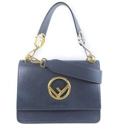 FENDI FENDI Canaif 2WAY shoulder BT284 calf navy ladies handbag [used]