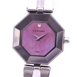 CENTURY Century Time Gem 1P Diamond 802.7.S.35.11SB Stainless Steel Quartz Ladies Pink Shell Dial Watch [Used] A Rank