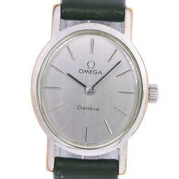 OMEGA Omega cal. 625 stainless steel × leather black hand-rolled women's silver dial watch [pre]