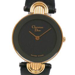 <html>    <body>   Dior クリスチャンディオール 3032 ステンレススチール×レザー ゴールド クオーツ レディース 黒文字盤 腕時計【中古】A-ランク        </body> </html>
