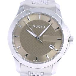 GUCCI グッチ Gタイムレス 126.4 ステンレススチール シルバー クオーツ メンズ ブラウン文字盤 腕時計【中古】A-ランク