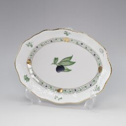 HEREND Fancy dish Apicius herb 19.5 × 15 × H3cm Ceramic white tableware [Used] A rank