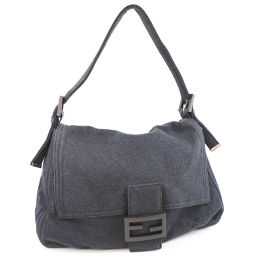 FENDI Fendi mamma bucket cotton canvas gray women's handbag [pre-owned]