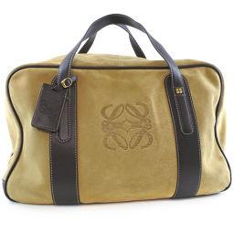 LOEWE Loewe Suede Beige Unisex Boston Bag [pre-owned]