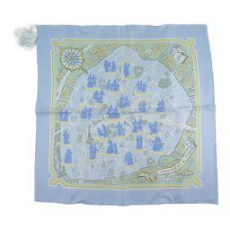 HERMES エルメス 地図 POCHETTE GAVROCHE TWILL シルク 水色 レディース スカーフ【中古】Sランク