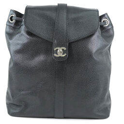 CHANEL Matte Caviar Skin Black Ladies Backpack Daypack [Used] A-Rank