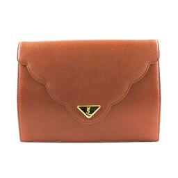 YVES SAINT LAURENT Yves Saint Laurent Calf Brown Ladies Clutch Bag [Used] A-Rank