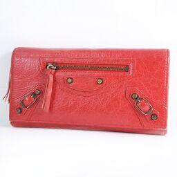 BALENCIAGA Balenciaga Calf Red Ladies Long Wallet [Used]