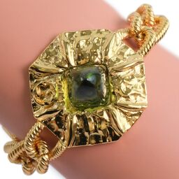 GUCCI Gucci green stone gold plated gold ladies bracelet [used] A rank
