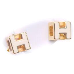 HERMES Hermes H Cube GP White Gold Women's Earrings [Used] A-Rank
