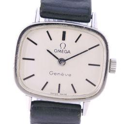 OMEGA オメガ cal.625 ステンレススチール×レザー 手巻き レディース シルバー文字盤 腕時計【中古】B-ランク