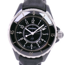 CHANEL J12 Stainless Steel x Leather Quartz Ladies Black Dial Watch [Used] A-Rank