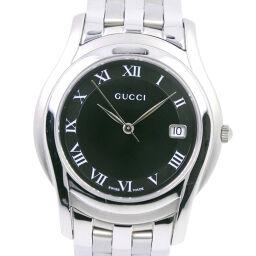 GUCCI グッチ 5500M ステンレススチール クオーツ メンズ 黒文字盤 腕時計【中古】